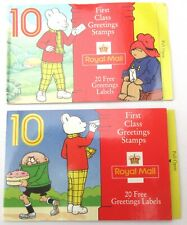 Two Royal Mail greetings stamp book covers 1980's with Rupert & Paddington Bear