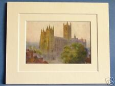 CANTERBURY CATHEDRAL FROM CHRIST CHURCH GATE VINTAGE DOUBLE MOUNTED PRINT  c1930