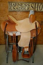 "16"" G.W. CRATE WADE ROPING SADDLE TRAIL ROPER AMERICAN MADE LEATHER FREE SHIP 17"