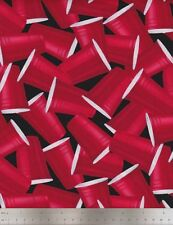 Timeless Treasures Fabric, Packed Red Cups, Red Party Cups on Black, 100% cotton