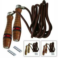 Jump Rope Ropeskipping SPRINGSEIL LEDER neu super drehend mit Holzgriffen Seil