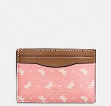 NWT COACH FLAT CARD CASE IN BUTTERFLY DOT PRINT COATED CANVAS BLUSH CHALK
