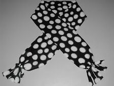 Handmade fleece scarf  #FLS041 Black with white dots