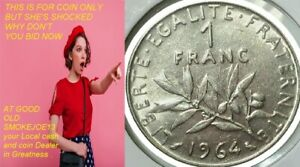 1964 France 1 Franc Seed Sower Lady coin Peace Age 57 years old and KM#925.1....