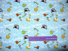 Frosty The Snowman Christmas Magic Hat Lt Blue Cotton Fabric BY THE HALF YARD