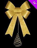 Gold Glitter Ribbon Bow Tree Top Topper Christmas Party Decor Shiny Ornament Fun