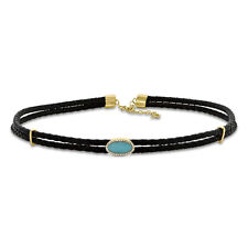 14K Yellow Gold Diamond And Oval Turquoise Leather Cord Choker Necklace 0.99TCW