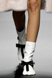 PRADA S/S 2013 RUNWAY White Leather Toe Socks Booties Shoes IT37/US6.5