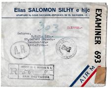 WW2 1941 EL SALVADOR AIRMAIL REGISTERED A.R. OPENED CENSOR COVER TO ENGLAND 70*