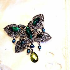 Nemesis Green Genuine Abalone Real Freshwater Pearl Butterfly Vintage Brooch Pin