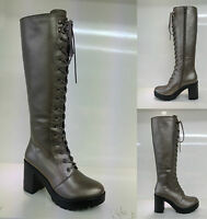 New Chunky Heel Platform Gothic Punk Knee High Mid Combat Lace Up Boots Shoes