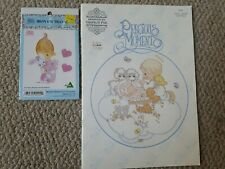 Precious Moments Cross Stitch Patterns Baby Book  + Iron on Transfer Bunny Girl