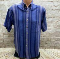 Chevella Shirt Tournament Arrow Short Sleeve Button Up Striped Multicolor Size L