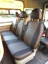TO FIT A FORD TRANSIT MINIBUS 9 SEATER, VAN SEAT COVERS,BLACK & GREY LEATHERETTE