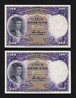 F.C. PAREJA CORRELATIVA 100 PESETAS 1931 , SIN SERIE , EBC- .