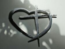 "Heart & Cross  Silver   24"" HANGING METAL WALL ART DECOR"