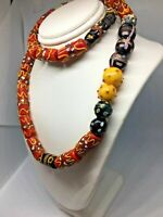 VINTAGE Millefiori Glass Beads Old Antique Gemstone Natural Women Round Necklace