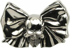 Buckle with Skull & Bow, Brillant Chrome, Belt Buckle