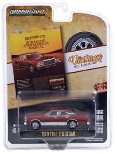 1:64 GreenLight *VINTAGE AD CARS 3* Burgandy 1979 Ford LTD 4-DOOR Sedan *NIP*