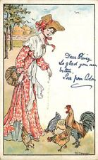 Artist Signed Postcard Beautiful Woman Feeding Chickens - signed Hardy ca 1906