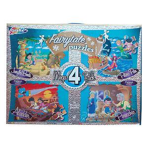 GRAFIX 4 x Jigsaw Aladdin Pinocchio 40 x 30cm Jungle Book Peter Pan Family Fun