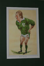 8 x IRELAND RUGBY PLAYER PRINTS by JOHN IRELAND MOUNTED READY FOR FRAMING