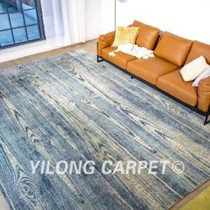 Yilong 10x14ft Blue Handmade Wool Silk Carpet High Quality Home Decor Rug ST06