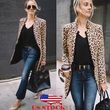 236fa4721143 US Leopard Jacket Women Sweater Top Warm Casual Winter Cardigan Long Sleeve  Coat