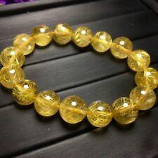 Natural Gold Rutilated Quartz Titanium Crystal Beads Bracelet 11mm AAA