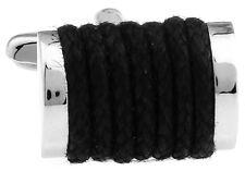 Rectangle Black Wrapped Cloth Cufflinks Wedding Fancy Gift Box Free Ship USA