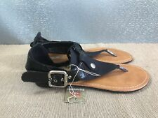 BNWT Ladies Older Girls Sz 5 Rivers Brand Black toe ankle strappy Sandals