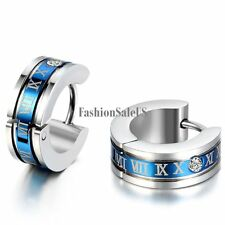 Stainless Steel Roman Number Engraved Men's Blue Fashion Cool Hoop Earrings 2pcs