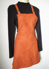 Primark Vintage 70s Boho Rust Burnt Orange Faux Suede Pinafore Dress Size 12 40