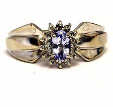 14k white gold ladies .14ct I1-I2 H oval tanzanite diamond ring 3.2g estate