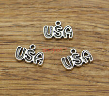 50 USA Letter Word Charms Bulk Metal DIY Antique Silver Tone 15x11 1891