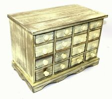 Wooden Storage Cabinet Chest 16 Drawers Rustic Shabby Chic Distress Finish White
