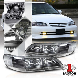 Black Housing Headlight Clear Corner Signal Reflector for 98-02 Honda Accord