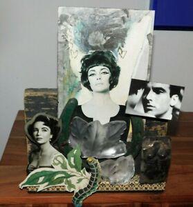 Original Michael Vollbracht Mixed Media Collage One of a Kind Liz Taylor Art