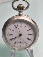 ANTIQUE REMONTOIR 0.800 SILVER POCKET WATCH 15 RUBIS SPIRAL BREGUET