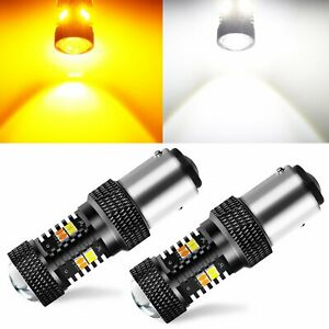 JDM ASTAR 2x 1157 Amber White Dual Color Switchback LED Turn Signal Light Bulbs