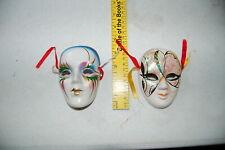 "Set of 2 Face Mask 4""x3"" Ceramic Art Mardi Gras Miniature Masquerade"