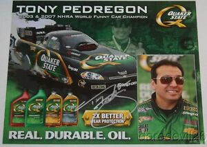 2009 Tony Pedregon signed Quaker State Chevy Impala Funny Car postcard
