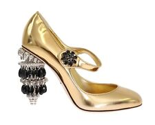 NEW $2600 DOLCE & GABBANA Shoes Leather Gold Crystal Chandelier Heel EU37.5/ US7