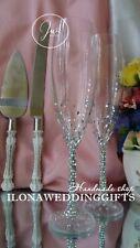 Swarovski Crystal Wedding Toasting Champagne Glass Flutes Cake Server Set Bling