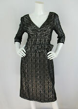 Marc by Marc Jacobs Black Crochet Lace Bow Waist 3/4 Sleeve Cocktail Dress 8 M