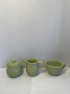 Pottery Barn Emma Beaded Stoneware Creamer & Sugar Bowl Set Apple Green Portugal