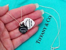Tiffany & Co vuelta a Tiffany Corazón Doble Porcelana Placa Collar