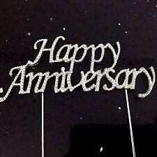 Happy Anniversary Cake Topper Rhinestone Crystal Bling Diamonte Sign Pick Silver
