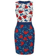 Oasis Size 12 Blue White Red Multi Stylised Botanical Floral Print Pencil Dress