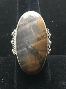 Lovely Petrified Wood Sterling Silver Handmade Navajo Ring- Size 9